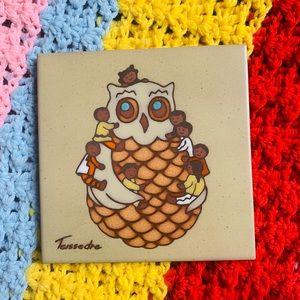 Southwestern Owl Ceramic Tile Coaster Trivet